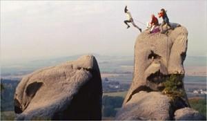 jumping across rocks