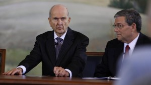 Elder Nelson at the press conference following the October 2013 General Conference.
