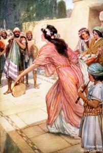 Jephtha's daughter greets him upon his return