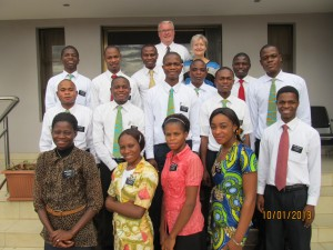 Joy and Phil McMullin with a group of newly arrived missionaries at the Lubumbashi mission home, January 2013.