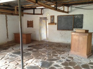 """Interior of """"old"""" Tshitenge building (residence-to-chapel conversion) soon to be replaced by a chapel that provides a larger space but that still retains the same local feel."""