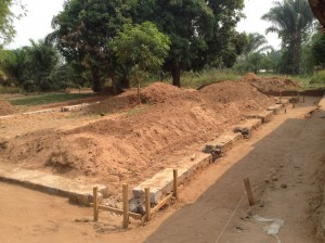 Construction site of new chapel in Tshitenge, July 2014.