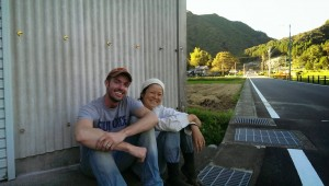 Michael and Ayumi, a tea farmer and our friend in Japan, after a hard day's work.