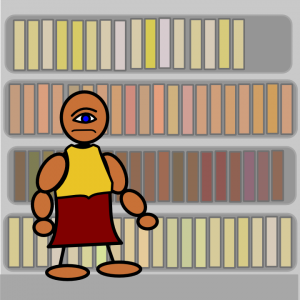 Moroni standing in front of Nephite records