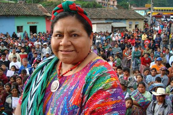 Rigoberta Menchú Tu, recipient of the 1992 Nobel Peace Prize, wearing her traditional Mayan huipil.